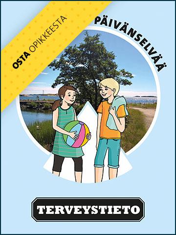 Päivänselvää - Terveystieto -julkaisun kannnessa on piirroskuva pojasta ja tytöstä.