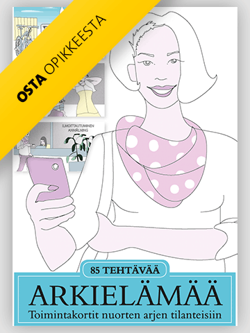 Arkielämää-julkaisun kannnessa on piirroskuva kännykkää pitelevästä naisesta.