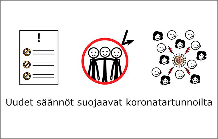 """""""Uudet säännöt suojaavat koronatartunnoilta"""" ilmaistuna kuvin."""