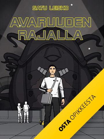 Avaruuden rajalla -julkaisun kannnessa nuori mies seisoo avaruusasemalla.