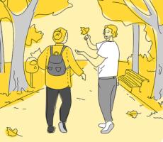 Piirroskuvassa nainen ja mies kävelevät puistossa.