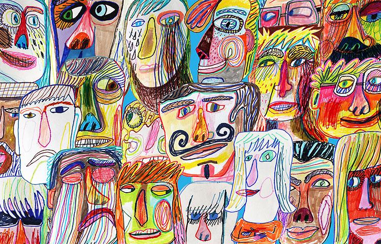 Värikäs piirros lukuisista ihmiskasvoista.