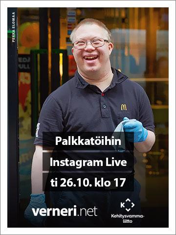 Palkkatöihin: Instagram Live (ti 26.10.2021 klo 17), linkki Verneri.netin sivuille.